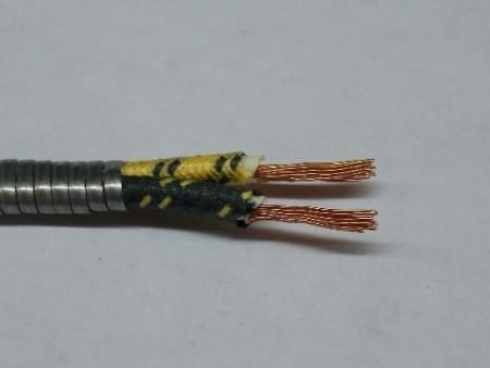 #B9909-002, 14 Gauge Double Conductor, Armor Covered (Cotton Braided) Primary Wire (Sold By the Foot)