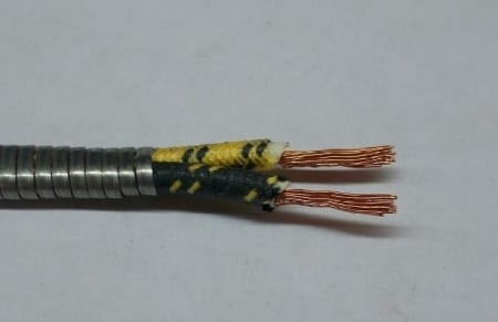 #B9908-002, 16 Gauge Double Conductor, Armor Covered (Cotton Braided) Primary Wire (Sold By the Foot)
