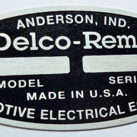 #B9013-003, Large Black Delco Remy I.D. Tag