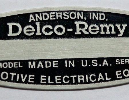 #B9013-004, Black Delco Remy I.D. Tag