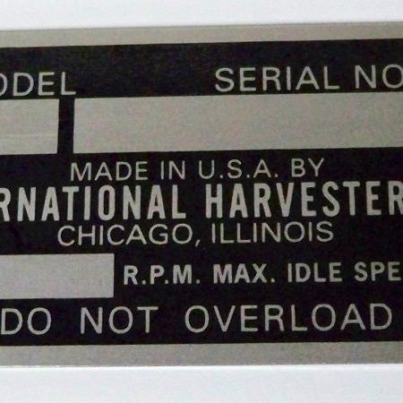 #B9013-007, IHC Serial Number  I.D. Tag